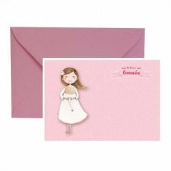 Pack 4 invitaciones Mi Primera Comunión niña con rosario más sobre rosa