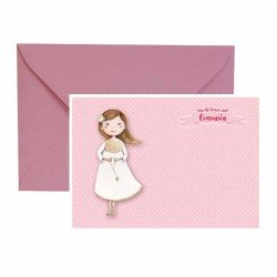 Pack 20 invitaciones Mi Primera Comunión niña con rosario más sobre rosa