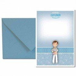 Pack 20 invitaciones Mi Primera Comunión niño con biblia más sobre azul