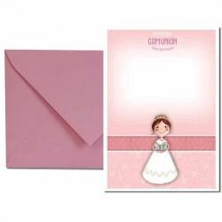 Pack 4 invitaciones Mi Primera Comunión niña con biblia más sobre rosa