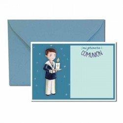 Pack 20 invitaciones Mi Primera Comunión niño con vela más sobre azul