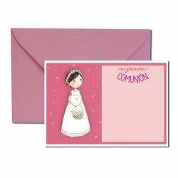 Pack 20 invitaciones Mi Primera Comunión niña con cesta de flores más sobre rosa