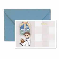 Pack 20 invitaciones Mi Primera Comunión niño sentado y vidriera al fondo más sobre azul
