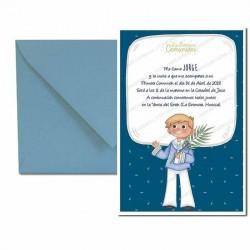 Pack 4 invitaciones Mi Primera Comunión niño traje de marinero y con espiga más sobre azul