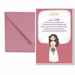 Pack 20 invitaciones Primera Comunión niña con ramo, formato vertical