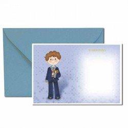 Pack 20 invitaciones Mi Primera Comunión niño con traje y biblia más sobre azul