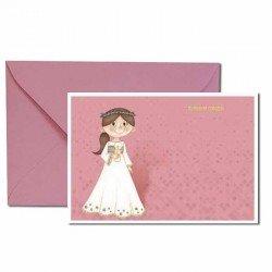 Pack 20 invitaciones Primera Comunión niña con cirio más sobre