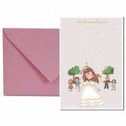 Pack 20 invitaciones Primera Comunión niña sonriente con amigos más sobre