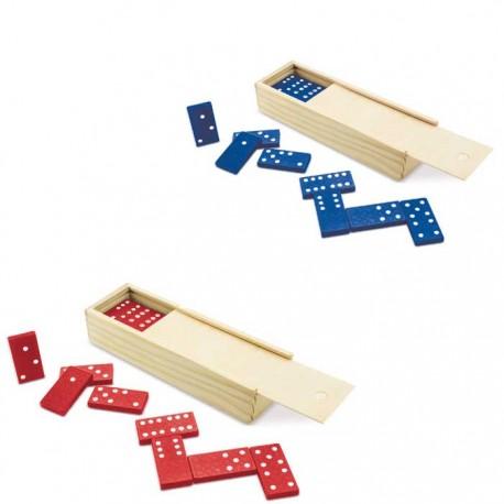 Domino de plástico en caja de madera