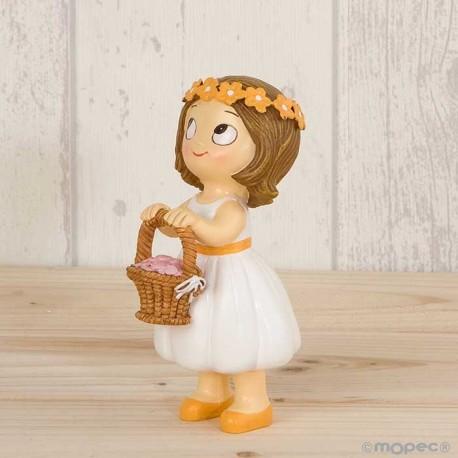 Figura niña paje con cesta de flores y corona