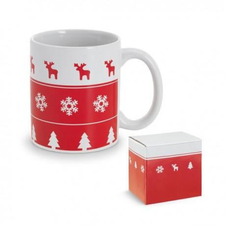 Taza navideña blanca y roja