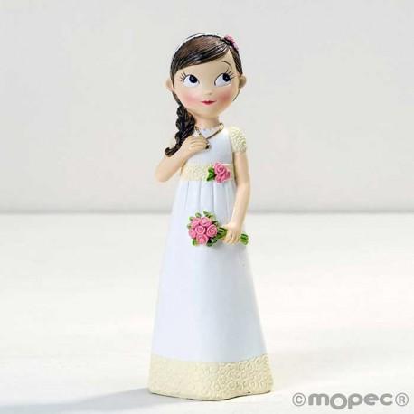 Figura para tarta niña Comunión con vestido romántico y ramo de flores