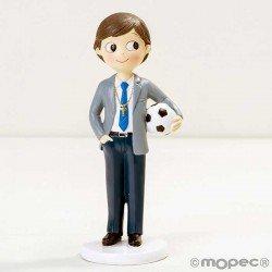 Figura para tarta niño Comunión en traje y pelota de fútbol