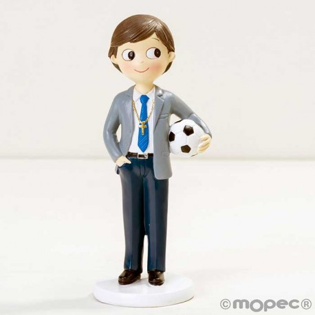 Figura para tarta niño Comunión con traje y pelota de fútbol