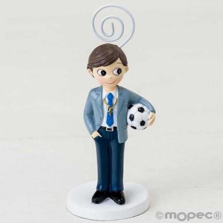 Portafotos niño con traje de Comunión con pelota de fútbol