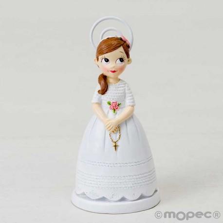 Portafotos para Comunión niña con rosario y coleta