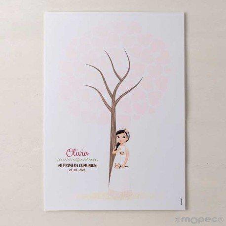 Lámina para firmas niña Comunión con ramo de flores