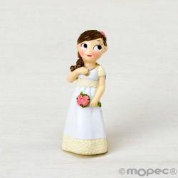 Imán para Comunión de resina niña romántica con flores