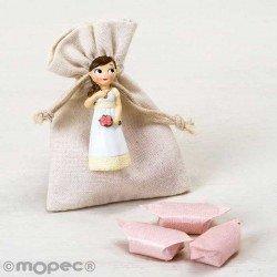 Imán para Comunión de resina niña romántica con caramelos