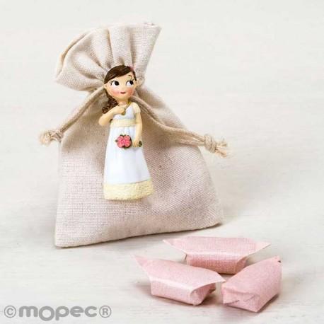 Imán para Comunión de resina niña romántica con flores y caramelos