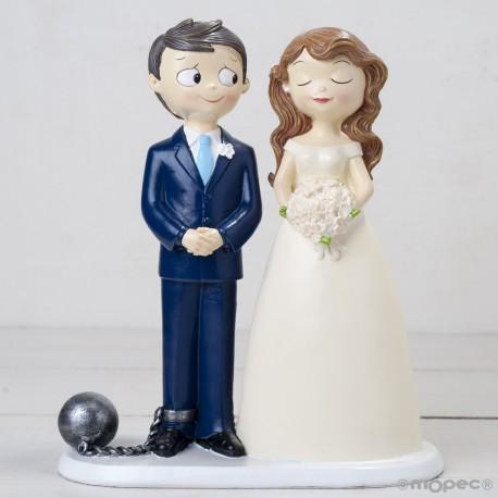 Figura para pastel o tarta de boda novio con grillete