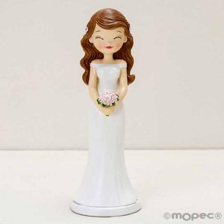 Figura para la tarta novia con los ojitos cerrados, figura combinable