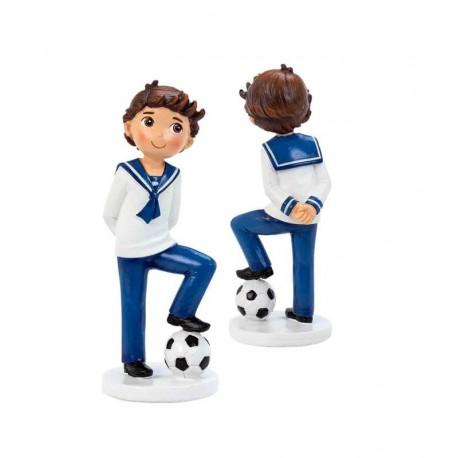 Figura para tarta niño marinero con balón de fútbol