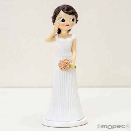 Figura para tarta novia sonrosada con la mano en la mejilla