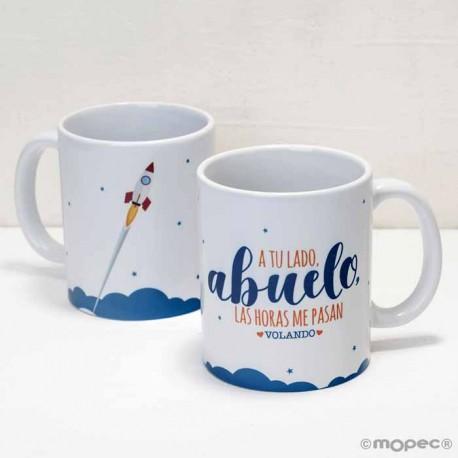 """Taza cerámica """"A tu lado Abuelo"""" en caja regalo"""