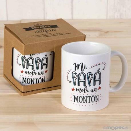 """Taza regalo """"Mi Papá Mola un montón"""". En caja regalo"""