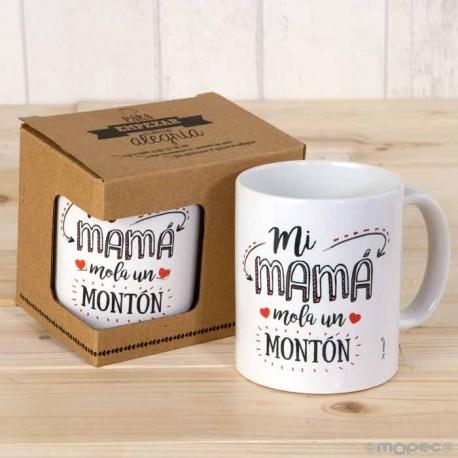 "Taza cerámica ""Mi Mamá Mola un montón"". En caja regalo"