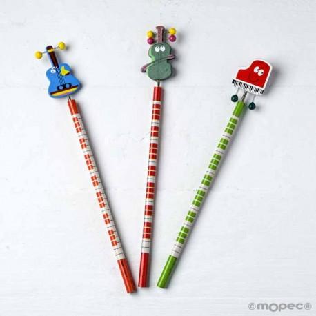 Lápices infantiles con instrumentos musicales. Guitarra, violín y piano