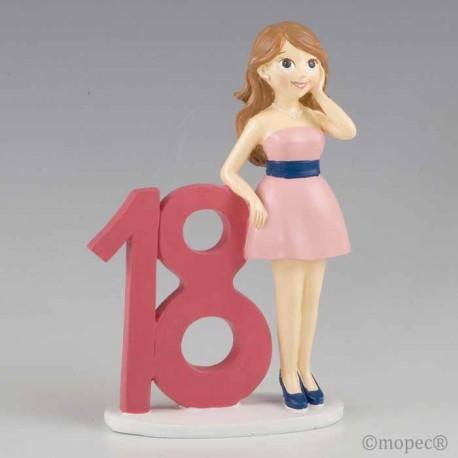 Figura para pastel 18 aniversario Chica con vestido rosa