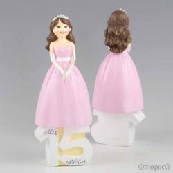 Figura para tarta del 15 Aniversario de Chica vestida de gala