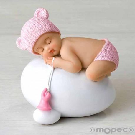 Figura de tarta para bautizo niña bebé rosa durmiendo sobre huevo