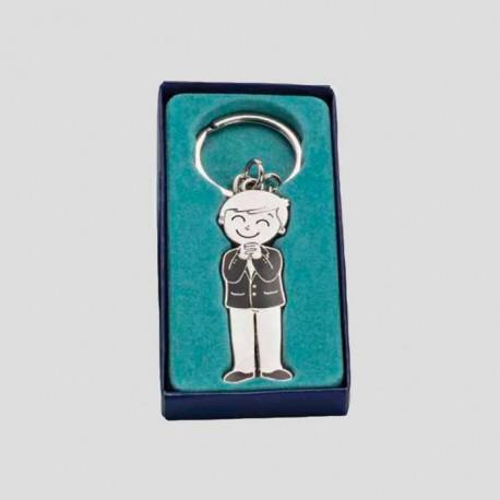 Llavero de metal niño con traje de Comunión en caja regalo.