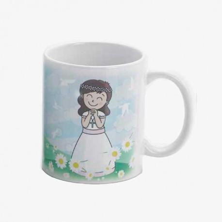 Anverso taza regalo para Comunión niña sonriente