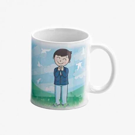 Anverso de la taza regalo para Comunión niño sonriente