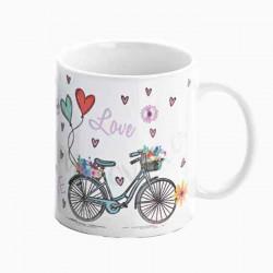 Taza regalo para Boda, decorada con bicicletas y corazones