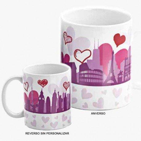 Taza personalizable para regalo en bodas, diseño perfiles de edificios