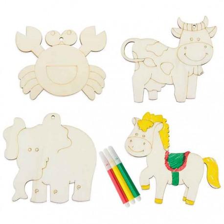 4 piezas de madera, figuras de animales, para colorear con rotuladores