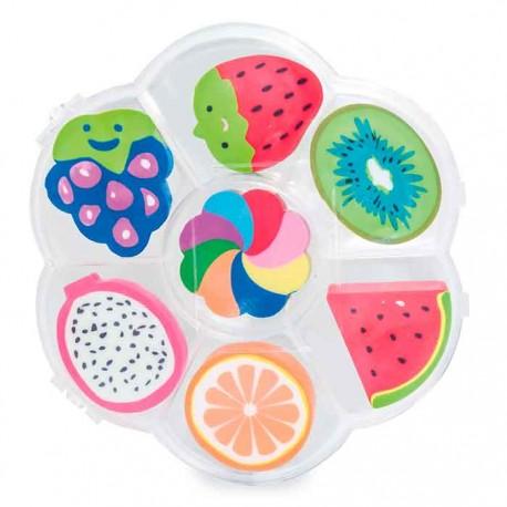 Set con 7 gomas, con diferentes formas de fruta