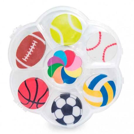 Set de con 7 gomas sport ball, con diferentes formas de balones