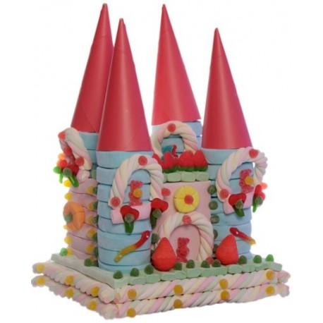 Tarta nubes y golosinas super castillo princesas