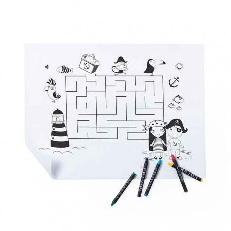 Salvamantel diseño laberinto infantil para colorear, incluye 5 ceras