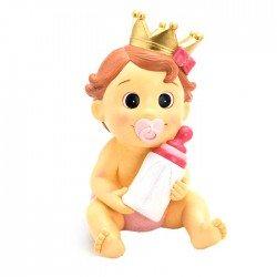 Figura para bautizo bebé niña con corona rosa y biberón