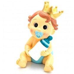 Figura para bautizo bebé niño con corona y biberón