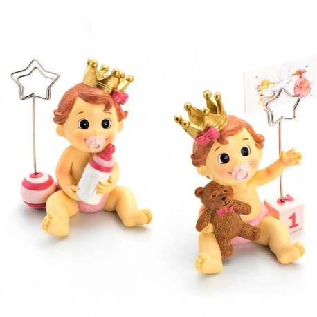 Clip portafoto niña bebé con corona con lazo y chupete