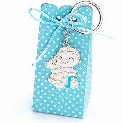 Llavero bebé niño con osito y pañal azul, con peladillas