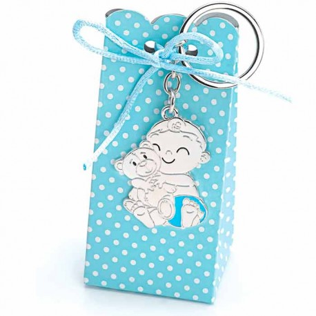 Llavero bebé niño con osito y pañal azul, con cajita diseño topos con peladillas